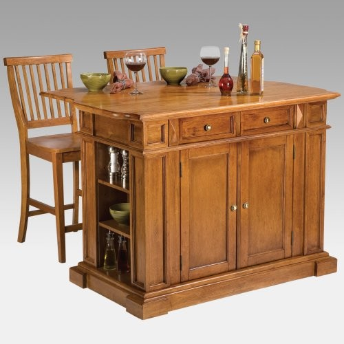 Cottage Oak Finish Large Kitchen Island Contemporary Kitchen Islands And Kitchen Carts By