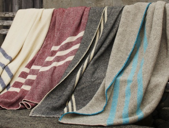Striped Natural Wool Blanket modern throws