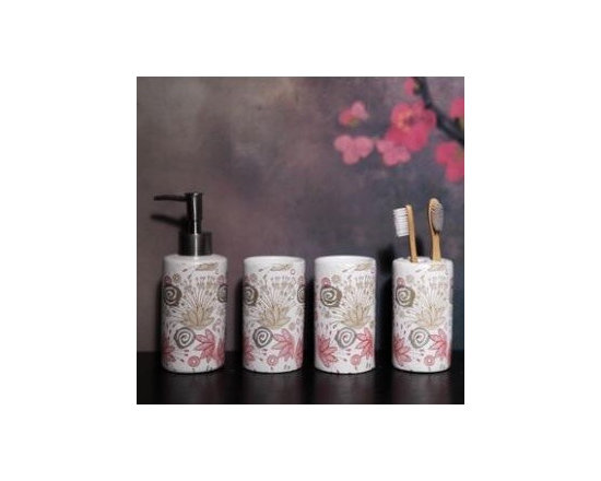 Delicate Flowers Design Ceramic Bath Accessory Sets - Bath Accessory Sets