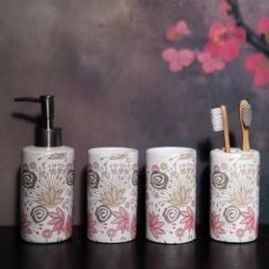 Delicate Flowers Design Ceramic Bath Accessory Sets contemporary-bath-and-spa-accessories
