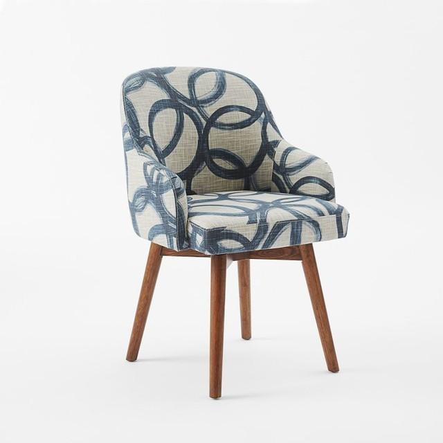 Saddle Office Chair Brushstroke Navy Flax Midcentury