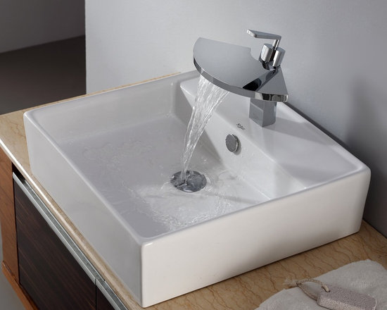 "Kraus C-KCV-150-14801CH White Square Ceramic Sink and Fantasia Basin Faucet - APPLY COUPON CODE ""EDHOUZ20"" AT CHECKOUT. JUST OUR WAY OF SAYING THANKS."