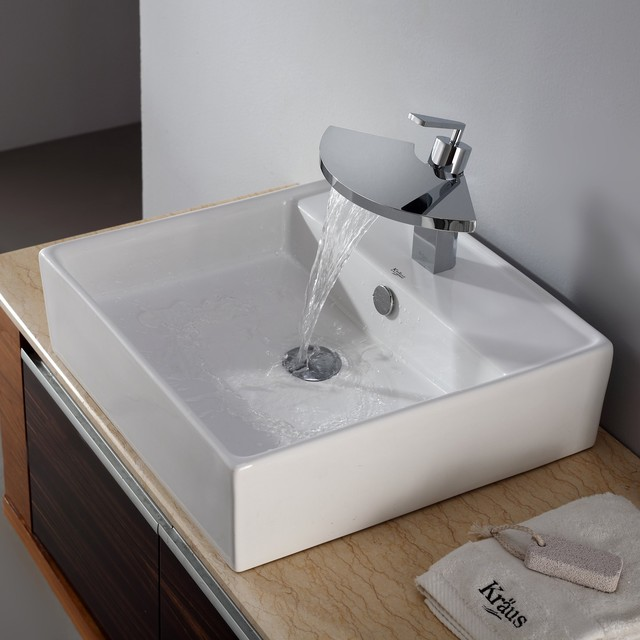 Kraus C KCV 150 14801CH White Square Ceramic Sink And Fantasia Basin Faucet