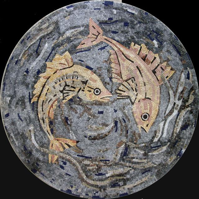 Custom Designed Handcut Marble Mosaic Medallions mediterranean-wall-and-floor-tile