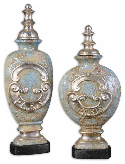 Burga Antique Urns, Set of 2 traditional-vases