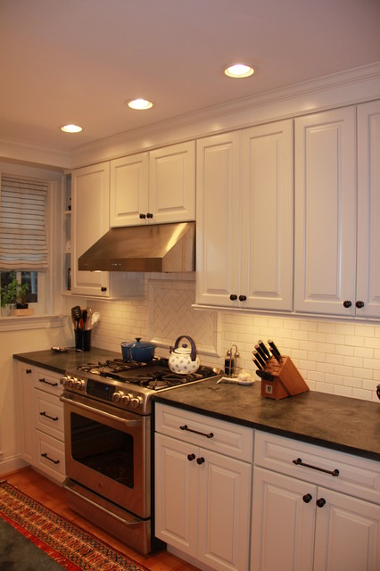 Traditional Kitchen with Cream Cabinets and Soapstone traditional-kitchen