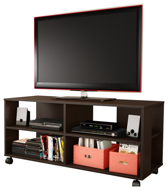 South Shore Jambory Storage Unit on Casters in Chocolate transitional-entertainment-centers-and-tv-stands