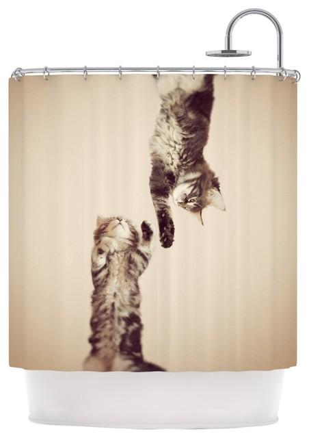 Monika Strigel Upside Down Brown Cats Shower Curtain
