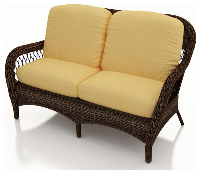 Leona Wicker Patio Loveseat Canvas Wheat Cushions Traditional Outdoor Loveseats By