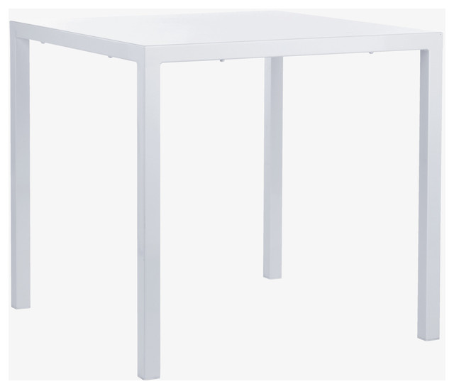 Pablo white metal dining table habitatuk modern for White metal outdoor dining table
