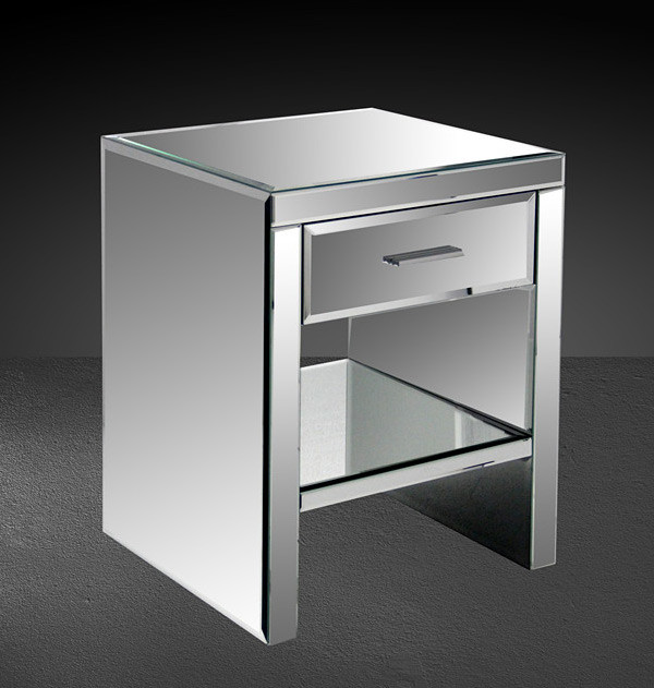 Gerona modern mirrored bedroom nightstand modern nightstands and