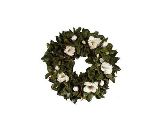 Winward Designs - Magnolia Bloom Wreath 36 inch - Our Timeless Magnolia Bloom Wreath perfectly showcases these white flowers.Welcome your guests with timeless beauty. Perfect on a large door,wall or above your fireplace.