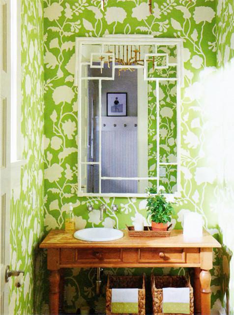 Potalla Wallpaper, Jungle Green on Tint eclectic-wallpaper