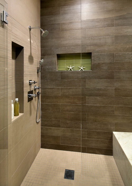 Wonderful Vertical Tile Layout With Horizontal Accent Band In Shower