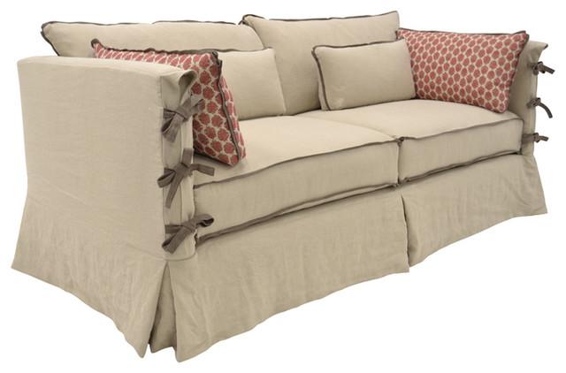 Farmhouse inspired slipcovered sofa with arm ties for Sectional sofa farmhouse