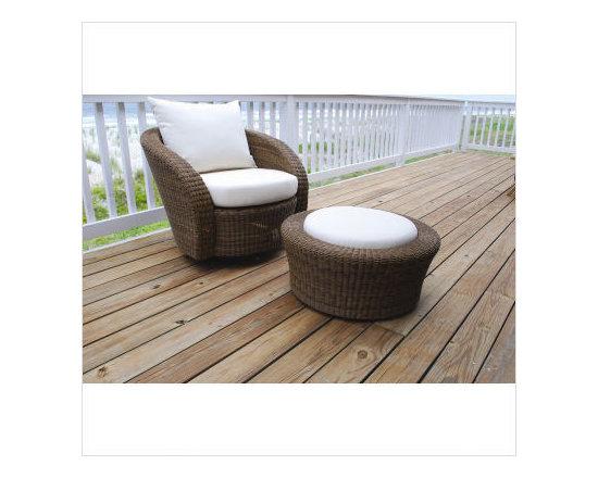 Kingsley Bate Carmel Deep Seating Swivel Lounge Chair & Ottoman -