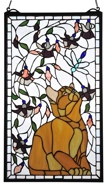 Meyda Tiffany Kitten & Dragonfly Stained Glass Tiffany Window X-68147 contemporary-stained-glass-panels