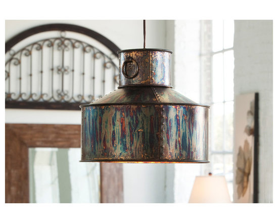 Albiano Metal Oxidized Pendant Lighting - The adventurous interior decorator will appreciate the Albiano series from Uttermost Lighting. Complex tonalities of metallic oxidation enrich this classic, simple shape. From Uttermost.