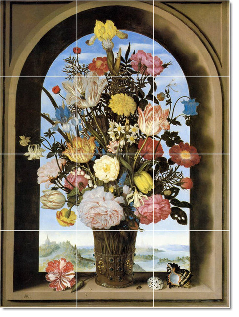 Bouquet Arched Window Tile Mural By Ambrosius The Elder Bosschaert traditional-tile-murals