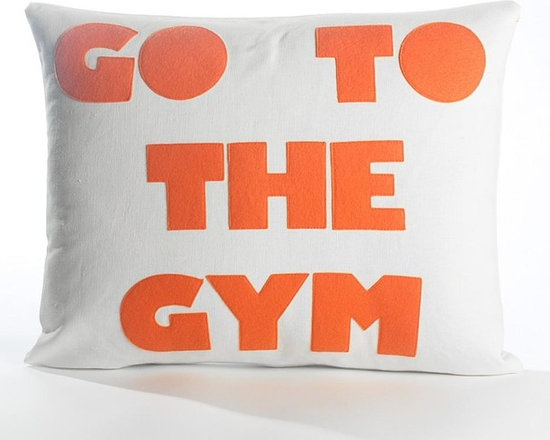 Alexandra Ferguson - Alexandra Ferguson Go To The Gym Pillow-Cream/Orange - Recycled polyester fill insert included. The felt that I use is made from 100 percent post consumer recycled water bottles. So, you drink water, throw the empty bottle in the recycling bin. Then they are melted down and turned them into this beautiful, really high quality soft felt that I then use to make pillows. All pillows have a nylon zipper closure, with the alexandra ferguson logo embroidered on the center back bottom. Fabric content: Hemp & organic cotton canvas 100% organic cotton canvas Felt is made out of 100% post consumer recycled water bottles
