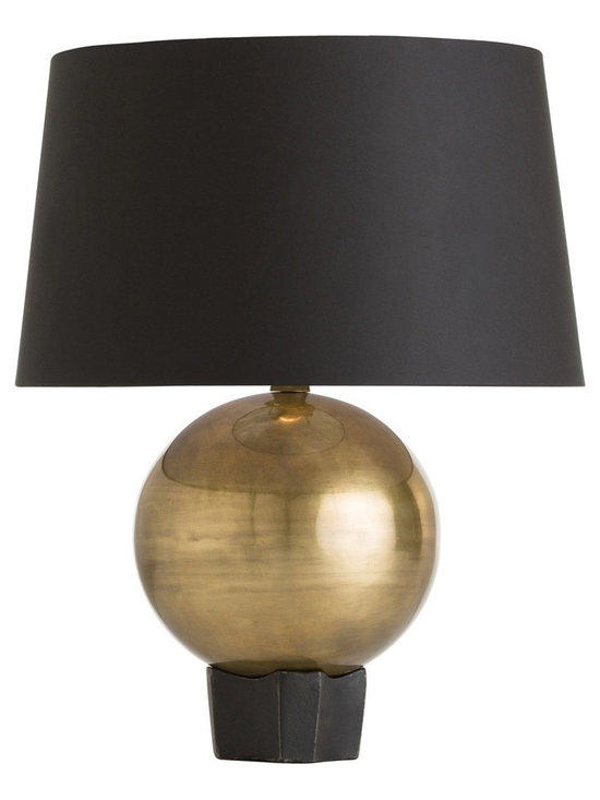 Arteriors Home - Hammond Table Lamp - Hammond Table Lamp was originally introduced as a pair of andirons. The response was so enthusiastic, we knew we just had to transform it into a lamp. Available in a White microfiber shade with Polished Nickel sphere and black base or Black microfiber shade with an Antique Brass sphere and black base. Comes with an 8 foot cord. One 100 watt, 120 volt A19 type medium base incandescent bulb is required, but not included. UL listed. 15 inch width x 19.5 inch height.