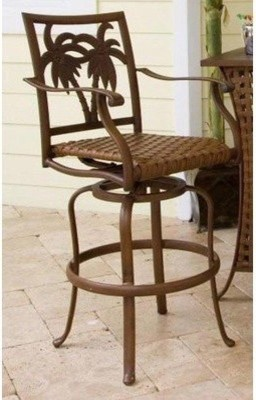 Lounge in this elevated Hospitality Rattan Coco Palm 30 in. Patio Swivel Barstoo modern-dining-chairs