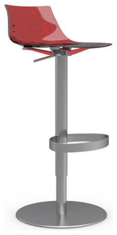 ICE Swiveling with Gas Lift Bar Stool, Transparent Red, Satin Frame modern-bar-stools-and-counter-stools