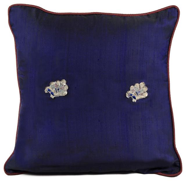 Peacock Sage Silk Pillow, Royal Blue - Asian - Decorative Pillows - by De-cor