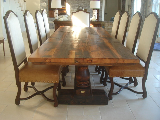 Reclaimed Antique Wood Dining Table With Turned Trestle Base Transitional Dining Tables Other Metro on shop houzz farmhouse style for the kitchen and dining room