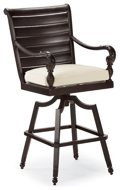 British Colonial Swivel Outdoor Bar Stool Cushion, Patio Furniture ...