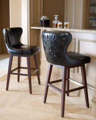 Estelle Black Leather Barstool Traditional Bar Stools