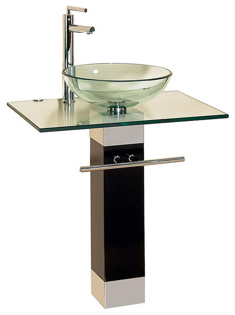 Bathroom Vanities Wood Pedestal Glass Vessel Sink Combo Contemporary Bath