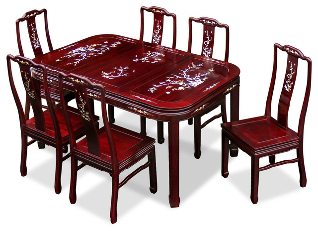 60in rosewood mother of pearl motif dining table with 6 for Oriental dining table and chairs