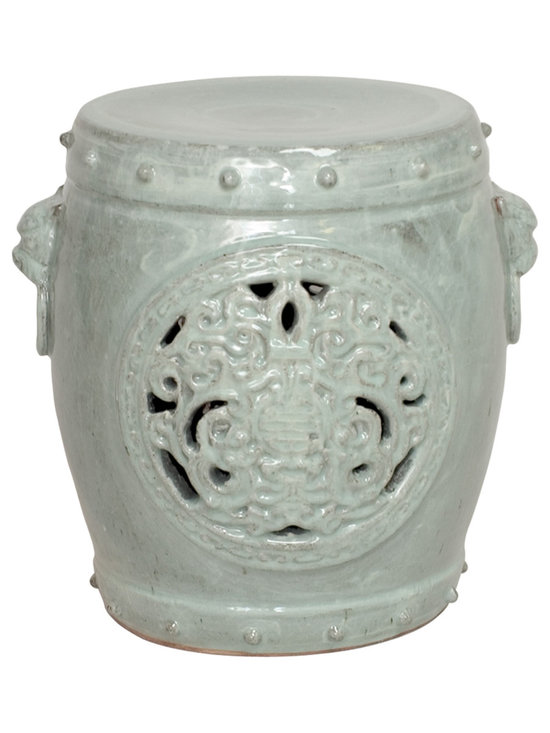 Celadon Crackle Dragon Medallion Garden Stool - Exotic and ornate, this stool is the ultimate in gorgeous style and design. With its intricate detail work and varied color options, this stool is perfect for showing off in a den, patio or as an unexpected, but super clever, bedside table.