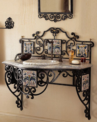 Maitland-Smith - Iron Scroll Vanity traditional bathroom vanities and sink consoles
