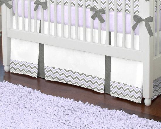 Lilac and Slate Gray Crib Skirt -