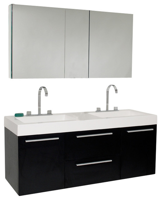Fresca Opulento Bathroom Vanity With Medicine Cabinet Black Modern Bathr