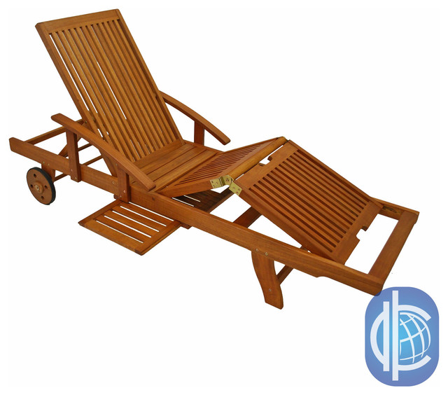 International Caravan Royal Tahiti Yellow Balau Wood Large Chaise Lounge contemporary-outdoor-chaise-lounges