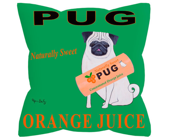 """Pug Orange Juice Pillow - Pug Orange Juice is a bold and colorful 18"""" x 18"""" pillow with a concealed zipper and feather & down insert (95/5). 100% Eco friendly material printed with non toxic, non fading dyes and sewn in a Massachusetts textile factory. Front 100% silky smooth polyester from recycled plastic bottles. Back is textured 65% polyester from recycled plastic bottles and 35% organic cotton. Artwork by American art Ken Bailey and made in USA."""
