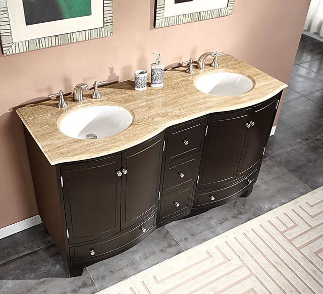 Silkroad Exclusive 60 Inch Travertine Stone Top Bathroom Vanity Double Sink C