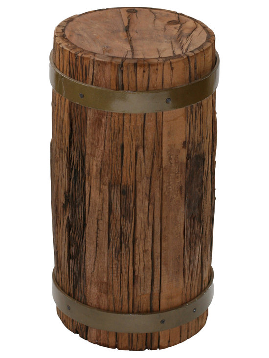Filling Spaces - Reclaimed Wood Stool - Give your decor a rustic look with this reclaimed wood stool with sleek metal accents. This sturdy, versatile piece can be used as small table, a stylish seat, or simply as an effortlessly decorative item.