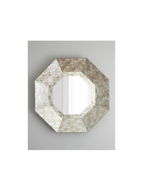 """Horchow - Octagonal Capiz-Shell Mirror - Exclusively ours. Accent mirror is held within an octagonal frame of shimmery capiz-shell tiles with a smoked finish. Handcrafted of wood composite, capiz shell, and mirrored glass. 40""""Dia. x 3""""D. Imported. Boxed weight, approximately 25 lbs. Pl..."""