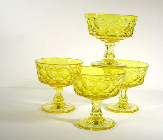 Four Noritake Dessert Goblets in Lemon Yellow by Bee Mine Vintage eclectic glassware