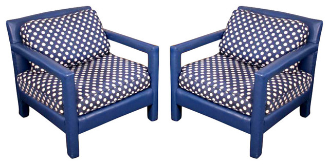 Fun 1970s Original Blue Upholstered Polka Dot Cube Club Chairs contemporary-armchairs-and-accent-chairs