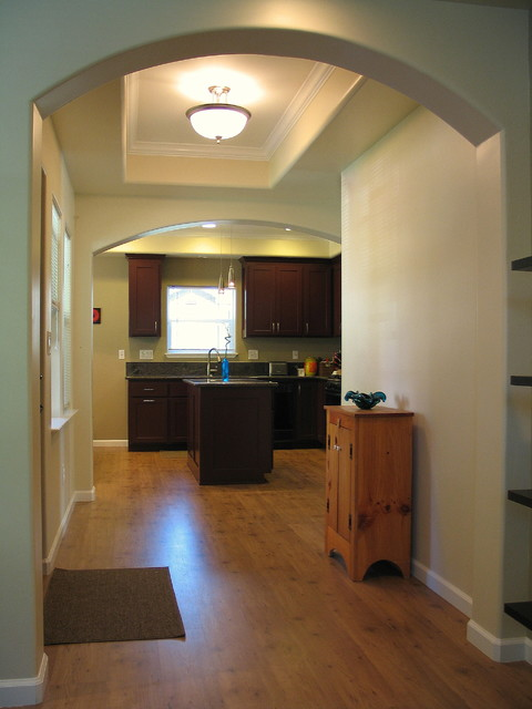 New entry hall & kitchen beyond traditional-entry