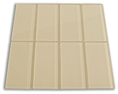 Khaki 3 x 6 Glass Subway Tile modern kitchen tile