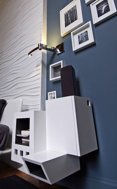 Home Office Space & Master Bedroom with Custom Cabinets and Modular Art wall pan modern