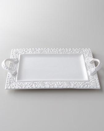 Bianca Leaf Rectangular Handled Platter traditional-serving-dishes-and-platters