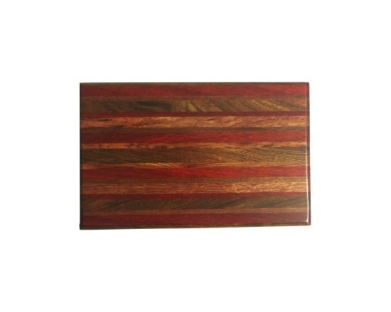 """Exotic Chopping Blocks - 8"""" x 12"""" Cutting Board - This board is elegant, sophisticated, and just the right amount of color to brighten up the room it is used in. The woods included in this board are Padouk, Seduoa, and Canary, all from South America.  All the woods are their natural colors. There has been no paint or stain added."""