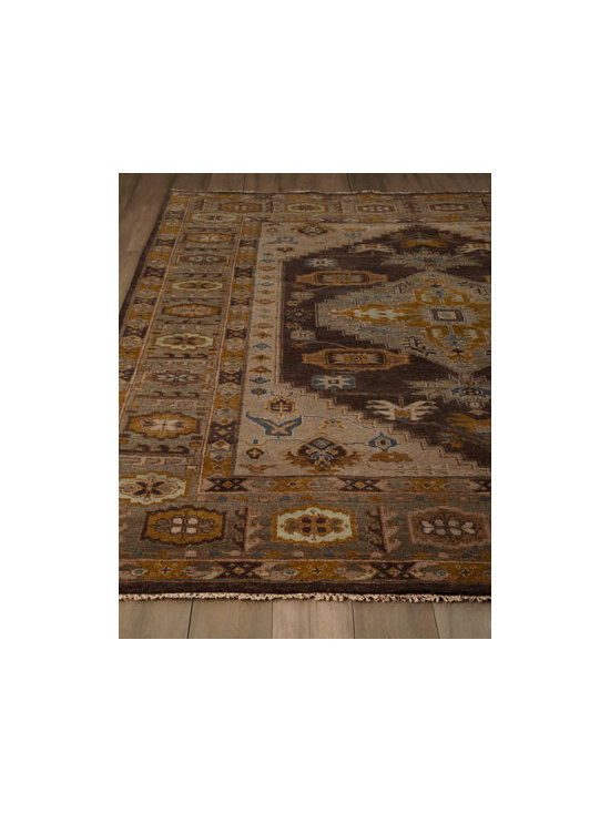 Horchow - Graymont Rug - A lively mix of traditional motifs and patterns with narrow borders gives this rug transitional yet timeless appeal. Rug is reversible; darker side is featured. Hand knotted of hand-spun wool. Sizes are approximate. Imported. See our Rug Guide f...